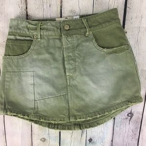 Free People Denim Skirt Boho Button Fly Army Green